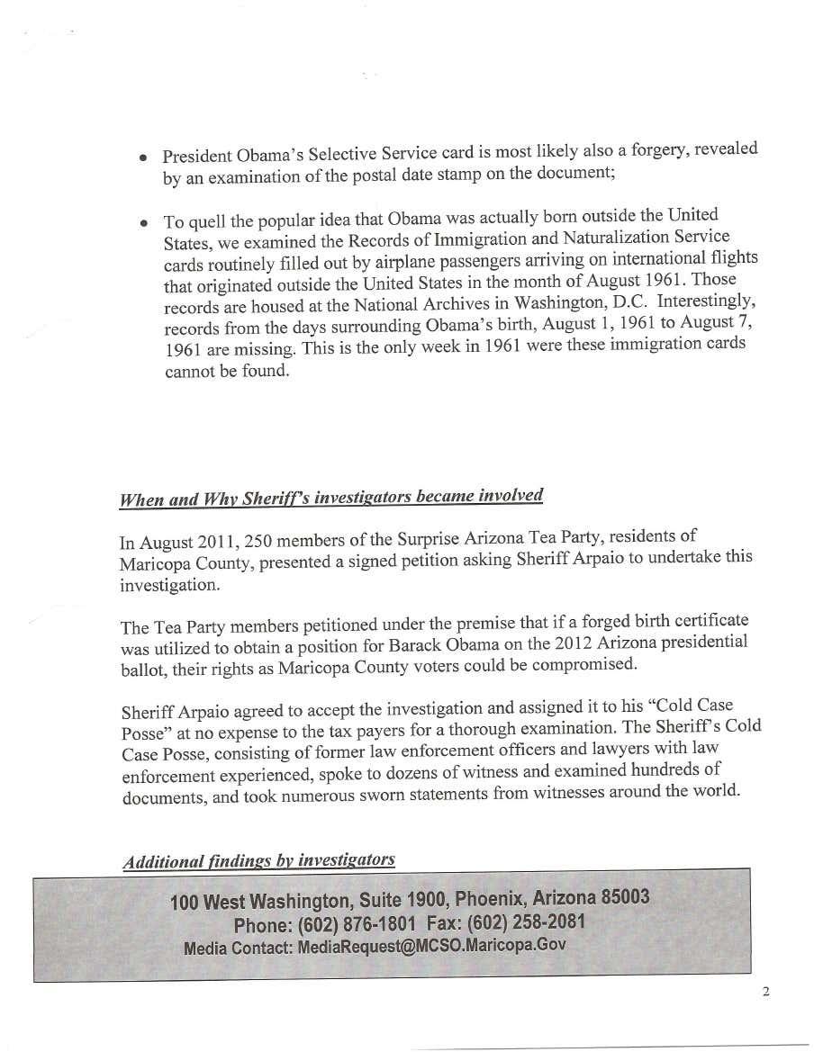 Obama Birth certificate report.